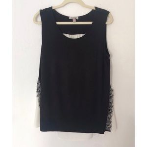 NWT Roz & Ali Black & White Lace Trim 2X Tank Top